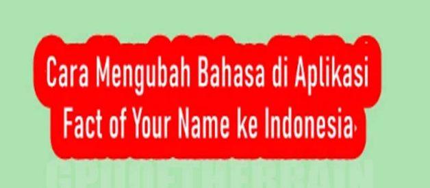 Cara Ubah Bahasa Di Aplikasi Fact of Your Name Ke Indonesia